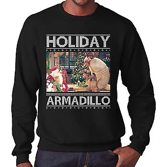 Friends Holiday Armadillo Santa Christmas Knit Pattern Men's Sweatshirt