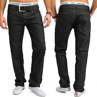 Men's regular fit jeans grey shiny pants oversized cotton W34 - W44