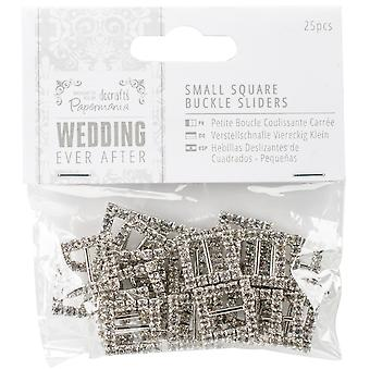 Papermania Ever After Wedding Buckle Ribbon Sliders 25/Pkg-Square PM158440