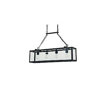 Igor Black Four Light Pendant With Clear Glass Plates - Ideal Lux 92942