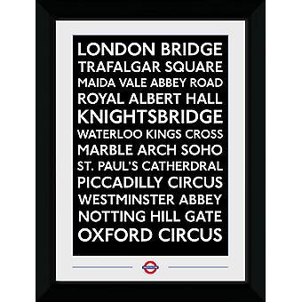 Transporte para Londres lugares emoldurado impressão de colecionador