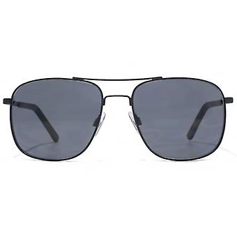 French Connection Temple Detail Metal Square Sunglasses In Matte Black
