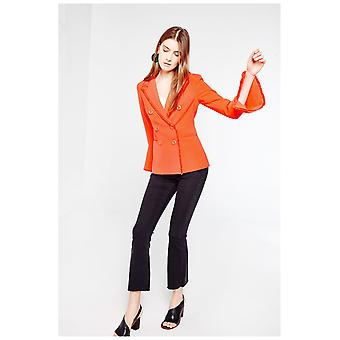 Style Mafia Frayed Hem Double Breasted Blazer