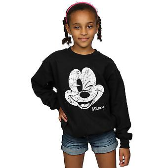 Disney Girls Mickey Mouse Distressed Face Sweatshirt