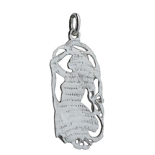 Silver 33x17mm Aquarius Zodiac Pendant