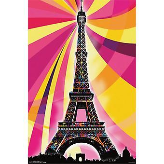 Eiffelturm - Psychedelic Poster Plakat-Druck