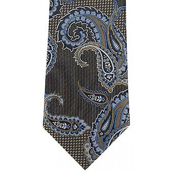 Michelsons of London Twill Paisley Polyester Tie - Brown