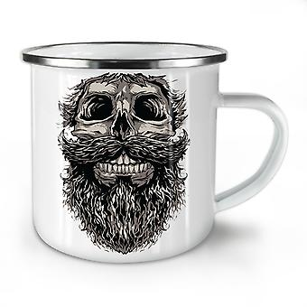 Beard On Skull NEW WhiteTea Coffee Enamel Mug10 oz | Wellcoda