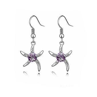 233bb113eb56 Womens Silver sjöstjärna örhängen lila kristall