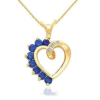 5/8ct Blue Sapphire & Diamond Heart Pendant 14 Karat Yellow Gold 1