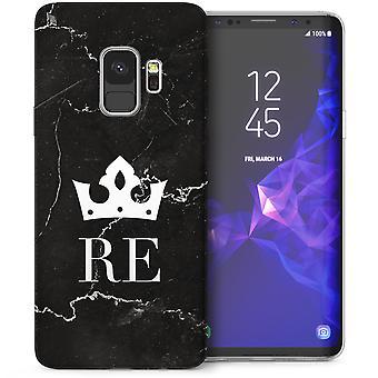Samsung Galaxy S9 Marmor Krone Initialen TPU Gel Case - schwarz