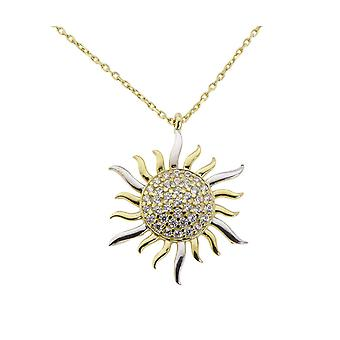 Yellow gold necklace and zirconia Sun pendant