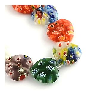Strand 35+ Mixed Glass 10mm Puffy Heart Beads Y04915