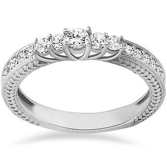 1 / 2ct Vintage Diamond verjaardag Ring 14K White Gold