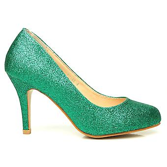 PEARL Green Glitter Stiletto High Heel Classic Court Shoes