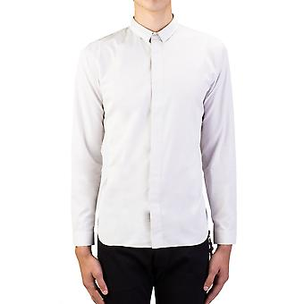 Dior Homme Men's Split Collar Cotton Dress Shirt Grey White