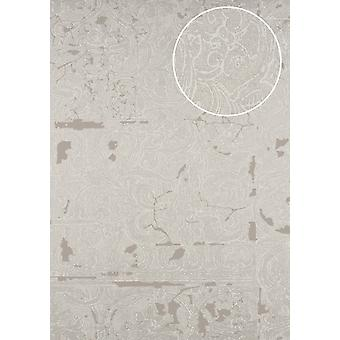 Baroque wallpaper ATLAS CLA-599-2 non-woven wallpaper imprinted with ornaments shiny silver grey beige brown beige perl-beige 5.33 m2