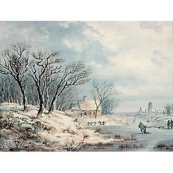 Landscape: Winter (w/c on paper) by J.J... - Art Print