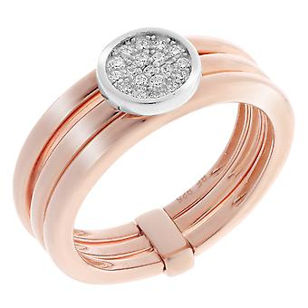 Orphelia Silver 925 Ring 3 Band With Center Stone Circle And Rosecolor  ZR-7283