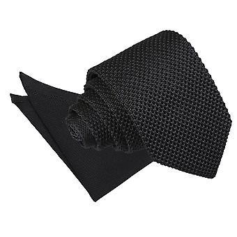Zwarte gebreide slanke Tie & zak plein instellen
