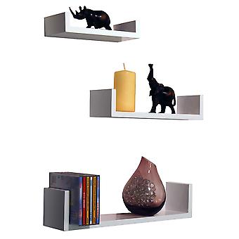 Melody - Wall Mounted Floating Display Storage Shelves - Set Of 3 - White
