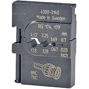 Crimp inset Coax connector RG316 /U, RG303, RG188 A/U, RG187 A/U, RG180 B/U, RG179 B/U, RG179, RG174 A/U, RG174, RG122 /U Pressmaster 4300-3140 4300-3140