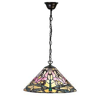 Interiors 1900 Ashton Pink Lilly & Libelle Tiffany Glas Pendelleuchte