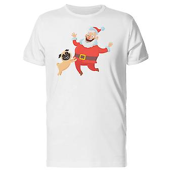 Happy Santa With Pug Tee Men's -Image by Shutterstock