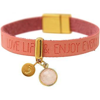 Footprint - 925 Silver - ladies - bracelet - gold plated - WISHES - Pink - Pink - Rose Quartz - magnetic closure