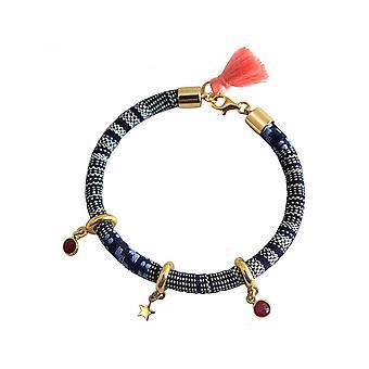 Damen - Armband - 925 Silber Vergoldet - AZTEC - STAR - Stern - Rubin - Rot