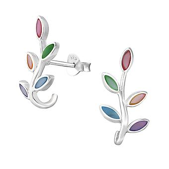 Olive Branch - 925 Sterling Silber Plain Ohrstecker - W37847x