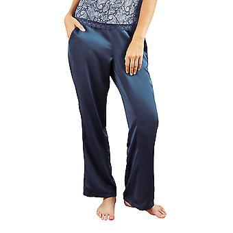 Guy de France 18026-2-093 Women's Blue Solid Colour Pajama Pyjama Pant