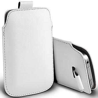 ONX3 (White) Premium Slip In Pull Tab Sleeve Faux Leather Pouch Case Cover For Wiko Fever Special Edition [ XXL ]