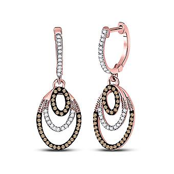 1/3 Carat (ctw) White and Enhanced Red Diamond Dangle Earrings in 10K Rose Pink Gold