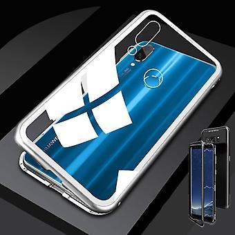 Für Huawei P Smart Plus Magnet / Metall / Glas Case Bumper Weiß / Silber / Transparent Tasche Hülle Neu