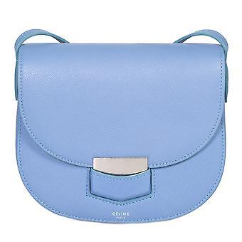Celine Small Trotteur Pool Blue Grained Calfskin Leather Crossbody Bag