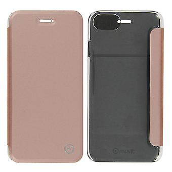 Muvit slim case, flip cover crystal case for Apple iPhone 7, iPhone 8 - Pink