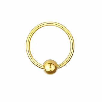 BCR Piercing oro placcato, sfera chiusura anello, corpo gioielli, spessore 1,6 mm   Diametro 8-16 mm
