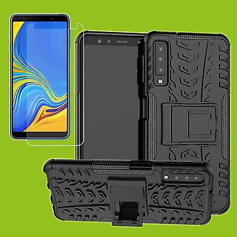 Pour la Samsung Galaxy A7 A750F 2018 hybride cas 2 morceau verre noir + trempé Sac housse manche