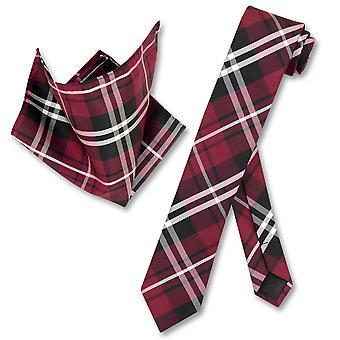 Vesuvio Napoli dünne Krawatte Karo Design Herren Krawatte & Taschentuch