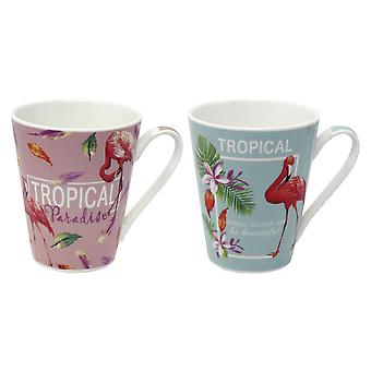 Flamingo cups tropical set of 2 white, printed, made of porcelain, capacity approx.  300 ml, in gift box.