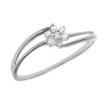 Sterling Silber Diamant-Cluster-Ring
