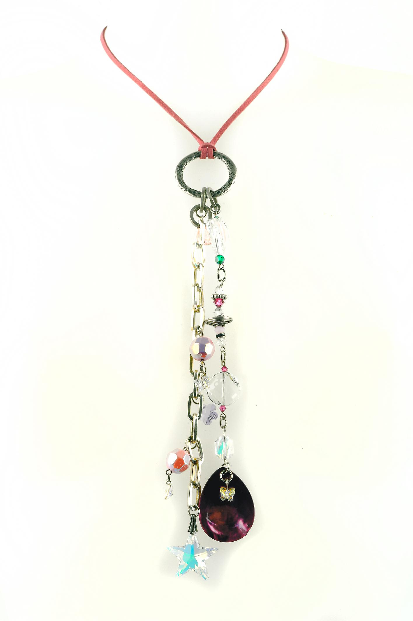 Waooh - Jewellery - WJ0310 - Long Necklace with Swarovski Strass Pierre & White Red Blue