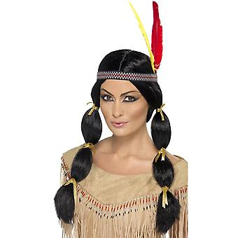 Long Black Pony Tails Wig, Indian Wig, Black, with Pigtails and Headband