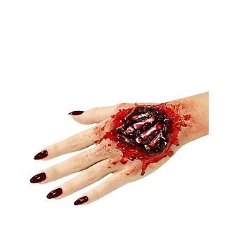 Latex Exposed Hand Bones Prosthetic, Red, with Adhesive