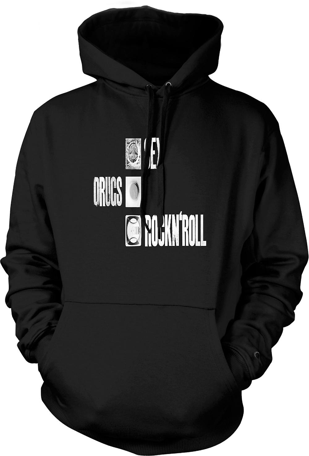 Mens Hoodie - Sex Drugs Rock n Roll - condoom