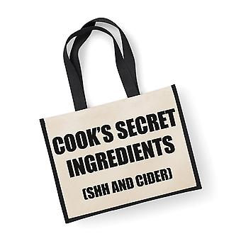 Store Jute Bag Cooks hemmelige ingredienser (hysj og Cider) svart Bag