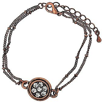 Mixology Rhinestone Charm Coppertone Double Chain Extendable Bracelet
