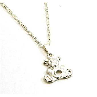 TOC Girls Sterling Silver Initial 'C' Teddy Bear Pendant Necklace 14