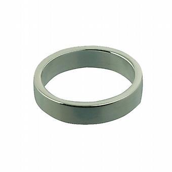 Argento 4mm plain flat anello nuziale dimensioni P